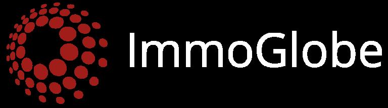 immoglobe logo transparent 1616x451 dunkelrot weiß